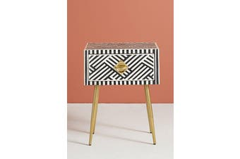 Bone Inlay Criss Cross Bedside Table