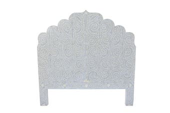 Bone Inlay Moghul Bedhead in Grey (Queen Size)