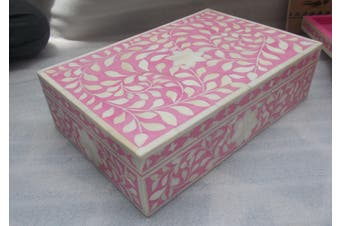 Bone Inlay Box in Ballet Pink