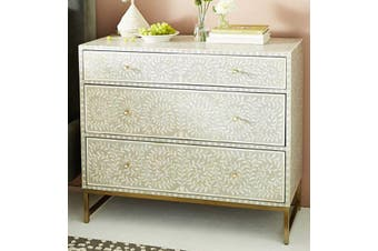 Bone Inlay Chest with Brass Legs in Grey