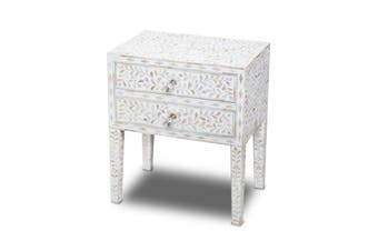 Bone Inlay Bedside Table with 2 Drawers in White