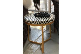 Bone Inlay Round Side Table with Gold Legs