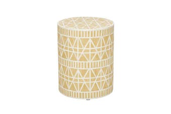 Tribal Bone Inlay Stool in Yellow