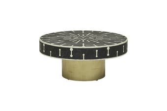 Bone Inlay Brass Spot Coffee Table in Black