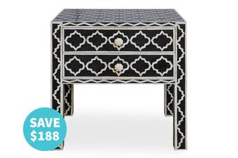 Bone Inlay Moroccan Bedside Table with 2 Drawers in Black