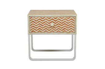 Bone Inlay Chevron Bedside Table in Orange
