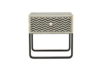 Bone Inlay Chevron Bedside Table in Black