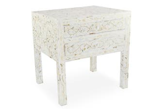 Mother of Pearl Inlay Bedside Table with 2 Drawers in White