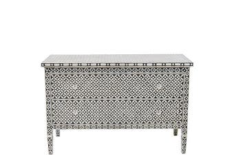 Bone Inlay 2 Drawer Chest in Celtic Black