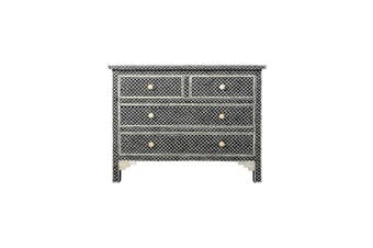 Bone Inlay 4 Drawer Chest in Fishscale Black