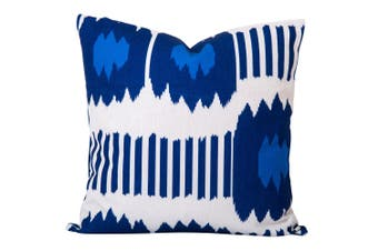 Bayou Ikat Cushion in Blue - With Feather Infill