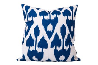Amare Ikat Cushion in Blue - With Feather Infill