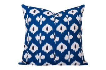 Kristine Ikat Cushion in Blue - With Feather Infill