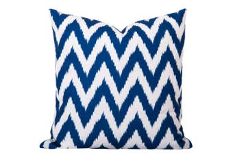 Gaia Ikat Cushion in Blue - With Feather Infill