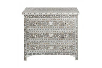 Bone Inlay 3 Drawer Chest in Grey
