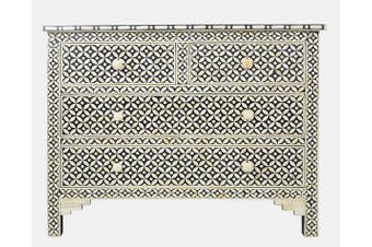Bone Inlay Celtic Pattern 4 Drawer Chest in Black