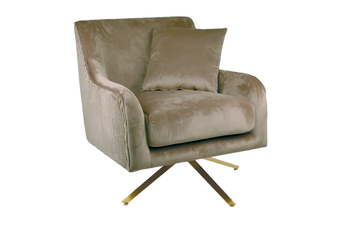 Silvie Velvet Arm Chair in Taupe