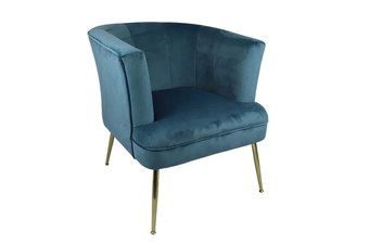 Lila Velvet Arm Chair in Blue