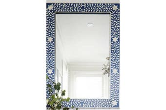 Bone Inlay Rectangular Mirror in Indigo