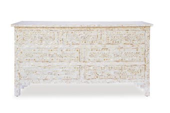 Mother Of Pearl Inlay 7 Drawer Chest in White