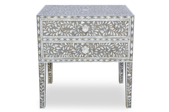 Mother of Pearl Inlay Bedside Table with 2 Drawers in Grey