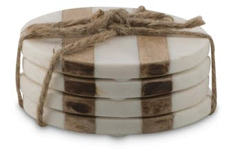 Stripes Marble & Timber Coasters - Set of 4