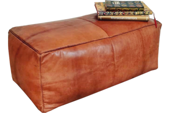Moroccan Rectangular Leather Pouffe in Tan