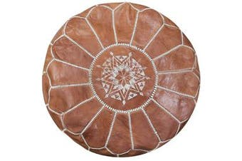 Moroccan Leather Pouffe in Vintage Tan
