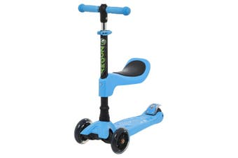 Zoomy Leisure Kids 2-in-1 Mini Scooter with Removable Seat & Light Up Wheels (Blue)