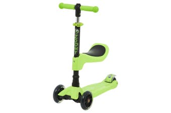 Zoomy Leisure Kids 2-in-1 Mini Scooter with Removable Seat & Light Up Wheels (Green)