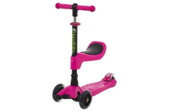Zoomy Leisure Kids 2-in-1 Mini Scooter with Removable Seat & Light Up Wheels (Pink)